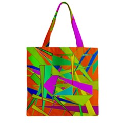 Background With Colorful Triangles Zipper Grocery Tote Bag
