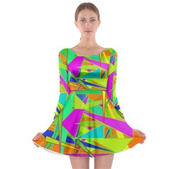 Background With Colorful Triangles Long Sleeve Skater Dress