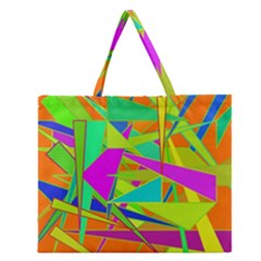 Background With Colorful Triangles Zipper Large Tote Bag by Simbadda