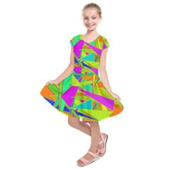 Background With Colorful Triangles Kids  Short Sleeve Dress