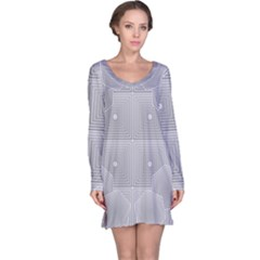 Grid Squares And Rectangles Mirror Images Colors Long Sleeve Nightdress by Simbadda