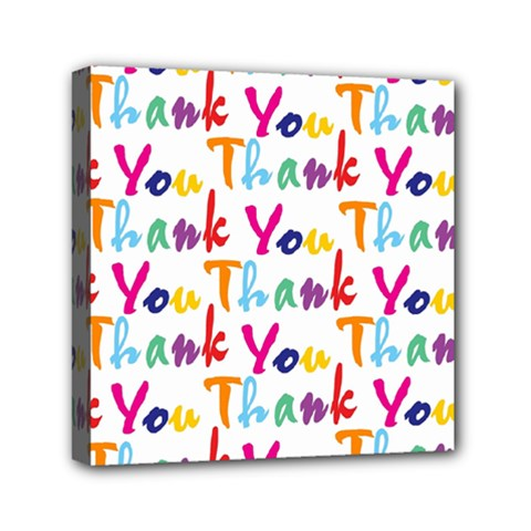 Wallpaper With The Words Thank You In Colorful Letters Mini Canvas 6  X 6  by Simbadda