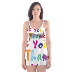 Wallpaper With The Words Thank You In Colorful Letters Skater Dress Swimsuit by Simbadda