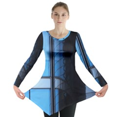Modern Office Window Architecture Detail Long Sleeve Tunic  by Simbadda