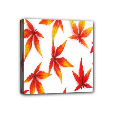 Colorful Autumn Leaves On White Background Mini Canvas 4  X 4  by Simbadda