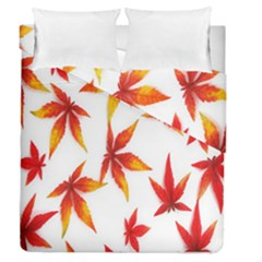 Colorful Autumn Leaves On White Background Duvet Cover Double Side (queen Size) by Simbadda