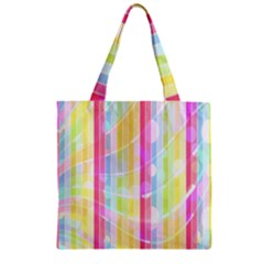Colorful Abstract Stripes Circles And Waves Wallpaper Background Zipper Grocery Tote Bag by Simbadda