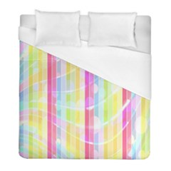 Colorful Abstract Stripes Circles And Waves Wallpaper Background Duvet Cover (full/ Double Size) by Simbadda