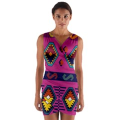 Abstract A Colorful Modern Illustration Wrap Front Bodycon Dress by Simbadda