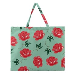 Floral Roses Wallpaper Red Pattern Background Seamless Illustration Zipper Large Tote Bag by Simbadda
