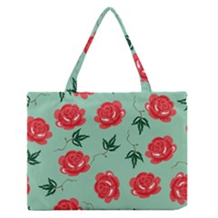 Floral Roses Wallpaper Red Pattern Background Seamless Illustration Medium Zipper Tote Bag