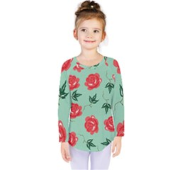Floral Roses Wallpaper Red Pattern Background Seamless Illustration Kids  Long Sleeve Tee