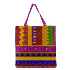Abstract A Colorful Modern Illustration Grocery Tote Bag by Simbadda