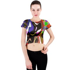 Colourful Abstract Background Design Crew Neck Crop Top by Simbadda