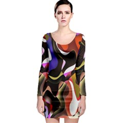 Colourful Abstract Background Design Long Sleeve Bodycon Dress by Simbadda