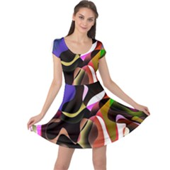 Colourful Abstract Background Design Cap Sleeve Dresses