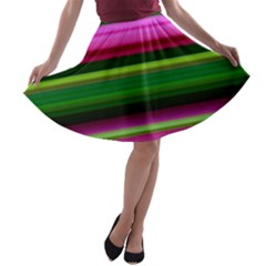 Multi Colored Stripes Background Wallpaper A-line Skater Skirt by Simbadda