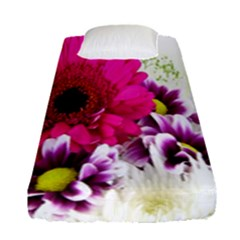 Pink Purple And White Flower Bouquet Fitted Sheet (single Size) by Simbadda