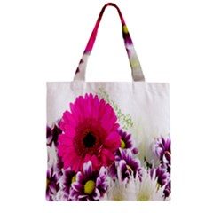 Pink Purple And White Flower Bouquet Zipper Grocery Tote Bag by Simbadda