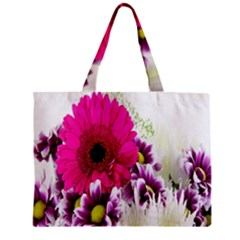 Pink Purple And White Flower Bouquet Zipper Mini Tote Bag by Simbadda