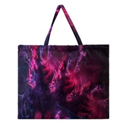 Abstract Fractal Background Wallpaper Zipper Large Tote Bag by Simbadda