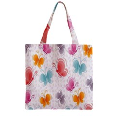Butterfly Pattern Vector Art Wallpaper Zipper Grocery Tote Bag by Simbadda