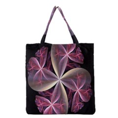 Pink And Cream Fractal Image Of Flower With Kisses Grocery Tote Bag by Simbadda