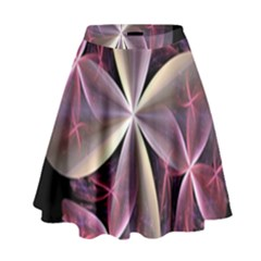 Pink And Cream Fractal Image Of Flower With Kisses High Waist Skirt by Simbadda