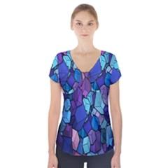 Cubes Vector Art Background Short Sleeve Front Detail Top by Simbadda
