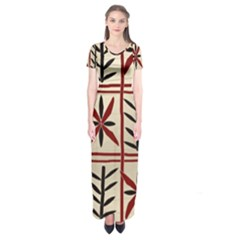 Abstract A Colorful Modern Illustration Pattern Short Sleeve Maxi Dress by Simbadda