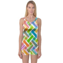 Abstract Pattern Colorful Wallpaper Background One Piece Boyleg Swimsuit