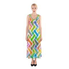 Abstract Pattern Colorful Wallpaper Background Sleeveless Maxi Dress