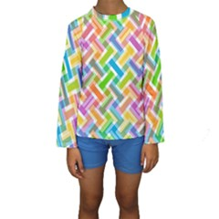 Abstract Pattern Colorful Wallpaper Background Kids  Long Sleeve Swimwear