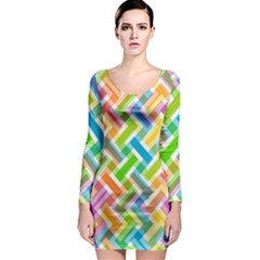Abstract Pattern Colorful Wallpaper Background Long Sleeve Bodycon Dress