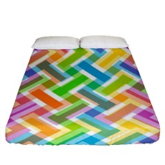 Abstract Pattern Colorful Wallpaper Background Fitted Sheet (Queen Size)
