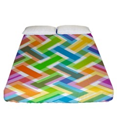 Abstract Pattern Colorful Wallpaper Background Fitted Sheet (King Size)