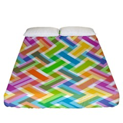Abstract Pattern Colorful Wallpaper Background Fitted Sheet (California King Size)