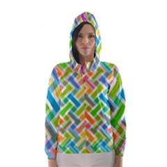 Abstract Pattern Colorful Wallpaper Background Hooded Wind Breaker (Women)