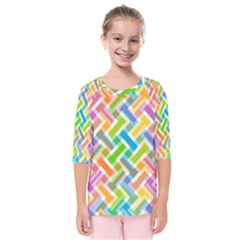 Abstract Pattern Colorful Wallpaper Background Kids  Quarter Sleeve Raglan Tee