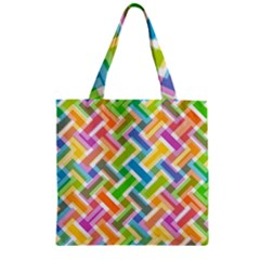 Abstract Pattern Colorful Wallpaper Background Zipper Grocery Tote Bag