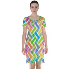 Abstract Pattern Colorful Wallpaper Background Short Sleeve Nightdress