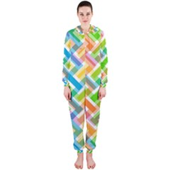 Abstract Pattern Colorful Wallpaper Background Hooded Jumpsuit (Ladies)