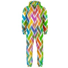 Abstract Pattern Colorful Wallpaper Background Hooded Jumpsuit (Men)