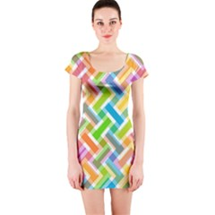 Abstract Pattern Colorful Wallpaper Background Short Sleeve Bodycon Dress