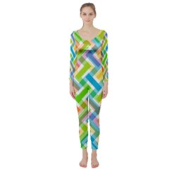 Abstract Pattern Colorful Wallpaper Background Long Sleeve Catsuit