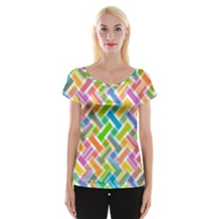 Abstract Pattern Colorful Wallpaper Background Women s Cap Sleeve Top