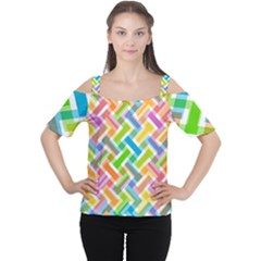 Abstract Pattern Colorful Wallpaper Background Women s Cutout Shoulder Tee