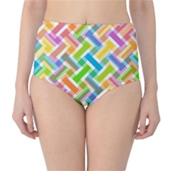 Abstract Pattern Colorful Wallpaper Background High-Waist Bikini Bottoms