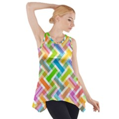 Abstract Pattern Colorful Wallpaper Background Side Drop Tank Tunic