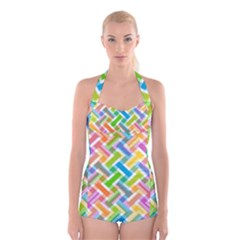 Abstract Pattern Colorful Wallpaper Background Boyleg Halter Swimsuit